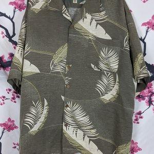 Tommy Bahama shirt XXL Silk & Linen w/ leaves